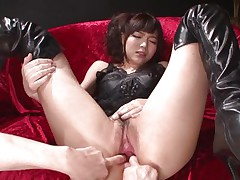 This innocent looking cunt named Megumi is a fucking whore. She was laying on that couch burning with lust when I came and start playing with her holes. Megumi offered her butt and enjoyed what I did to it. Using some sex toy I pleased this slut and stuffed her anus and that wet and juicy pussy.