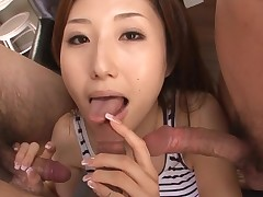 Whore Oriental mamma deepthroats large dick and her love tunnel fingered